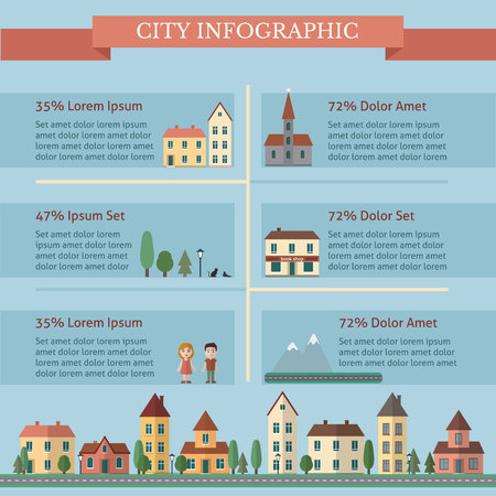 world village: City infographic with street and houses. Flat style vector illustration. Illustration