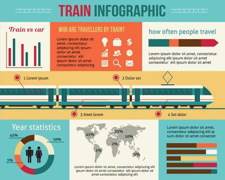 on train: Tren y infograf�a ferrocarril. Ilustraci�n vectorial de estilo Flat.
