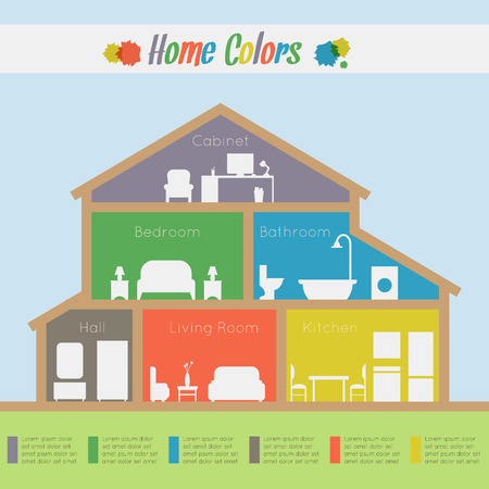 residential house: House infographic. Rooms with furniture with statistic. Flat style vector illustration.
