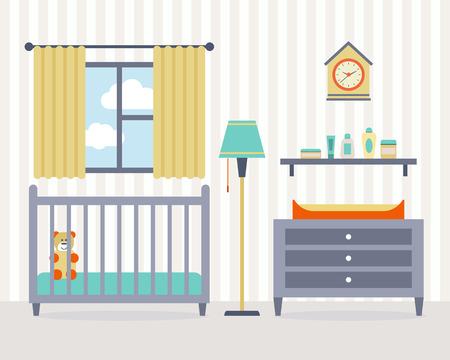 Wickelraum mit Möbeln. Nursery interior. Wohnung Stil Vektor-Illustration.