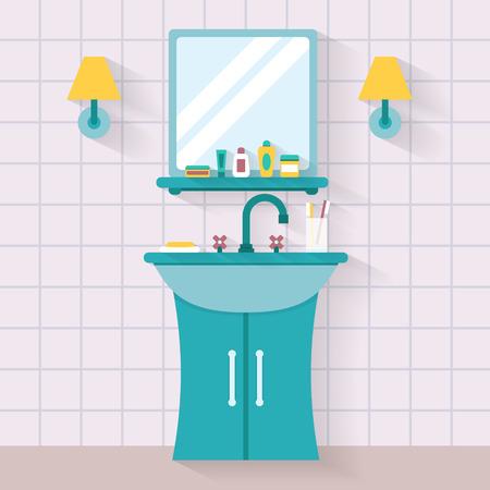dientes sucios: Baño lavabo con espejo. Ilustración vectorial de estilo Flat.