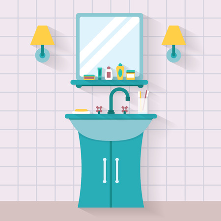 clean bathroom: Bathroom sink with mirror. Flat style vector illustration.