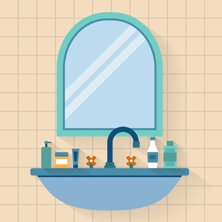 bathroom sink: Bathroom sink with mirror. Flat style vector illustration.