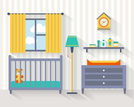 Sitio Del Bebé Con Muebles. Guardería Y Sala De Juegos Interior ...