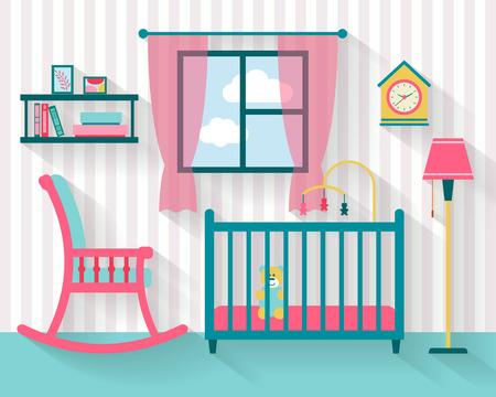 Espace bébé avec des meubles. Nursery intérieur. Plat illustration vectorielle de style. Vecteurs