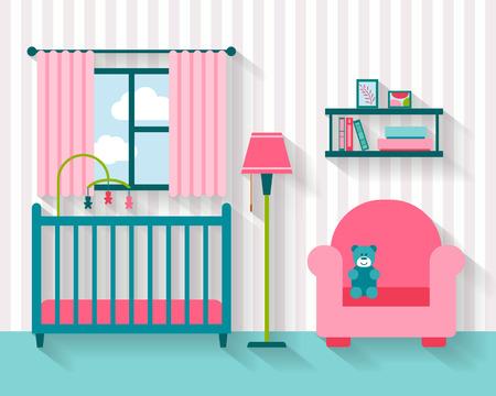 아기: 가구와 아기 방. 보육 인테리어. 플랫 스타일 벡터 일러스트 레이 션.