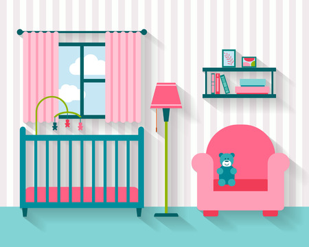 baby on chair: Baby room with furniture. Nursery interior. Flat style vector illustration.