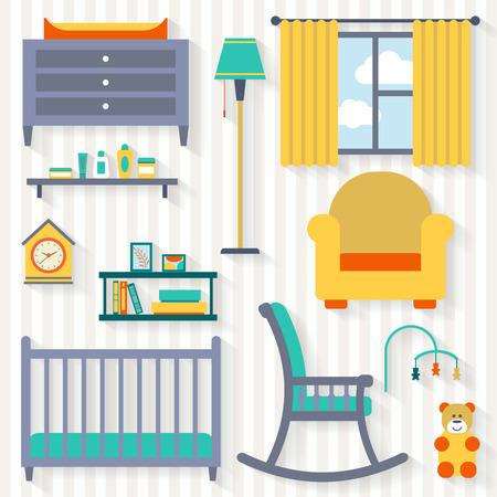 letti: Baby room con mobili. Nursery interno. Appartamento stile illustrazione vettoriale.