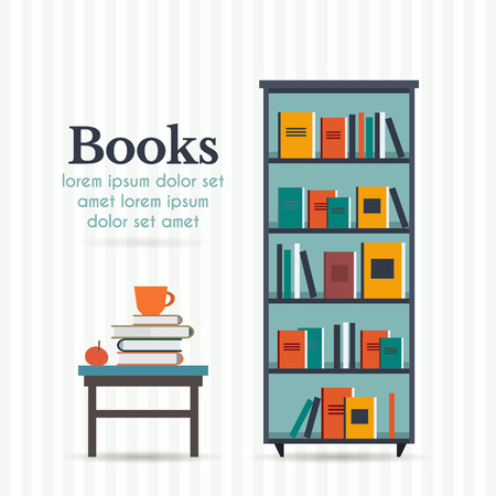 Book shelf and chair with lamp. Flat style vector illustration.