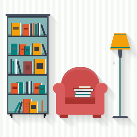 wooden shelf: Book shelf and chair with lamp. Flat style vector illustration.