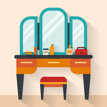 Woman boudoir with table, mirror and chair in bedroom. Flat style vector illustration.