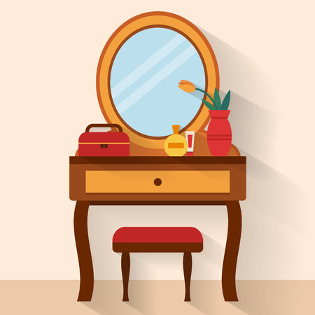 dressing table: Woman boudoir with table, mirror and chair in bedroom. Flat style vector illustration. Illustration