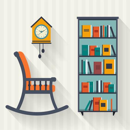silla: Estante de libro y silla con lámpara. Ilustración vectorial de estilo Flat.