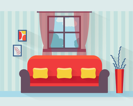 living room furniture: Living room with sofa and long shadows. Flat style vector illustration.