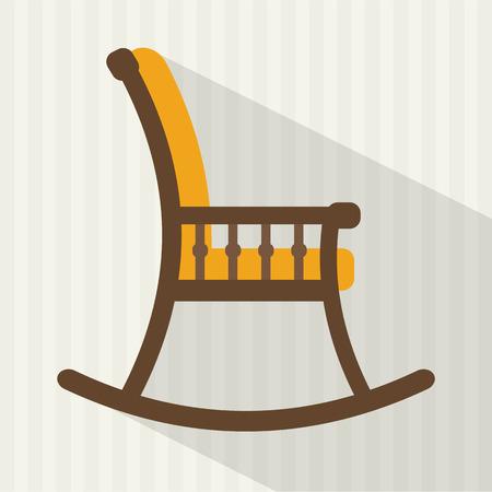 silla de madera: Mecedora con una larga sombra. Ilustración vectorial de estilo Flat.