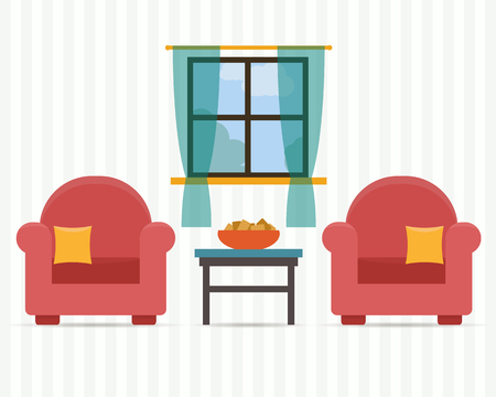 Chairs with small table, home interior. Flat style vector illustration.