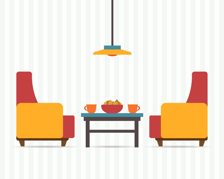 guest house: Chairs with small table, home interior. Flat style vector illustration.