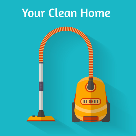 vacuum cleaner: Vacuum cleaner in room. Flat style vector illustration.