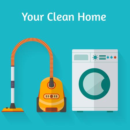 maschine: Vacuum cleaner and washing maschine. Flat style vector illustration.