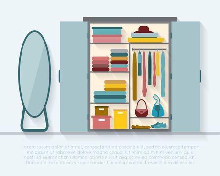 Wardrobe for cloths. Closet with clothes and bags and others. Flat style vector illustration. Vector