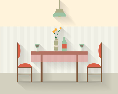 Mesa de comedor para la fecha con vasos de vino, flores y sillas. Ilustración vectorial de estilo Flat. Ilustración de vector