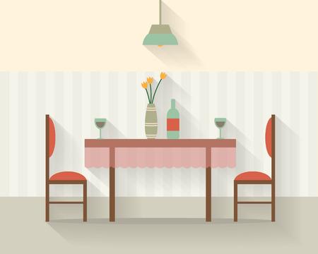 silla de madera: Mesa de comedor para la fecha con vasos de vino, flores y sillas. Ilustración vectorial de estilo Flat. Vectores