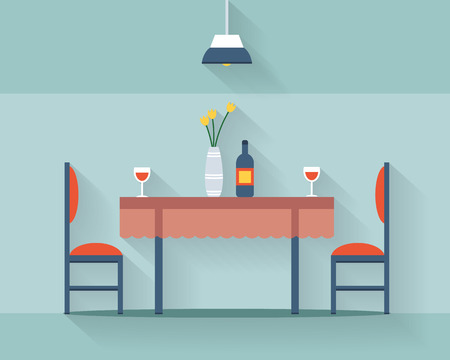 round chairs: Dining table for date with glasses of wine, flowers and chairs. Flat style vector illustration.