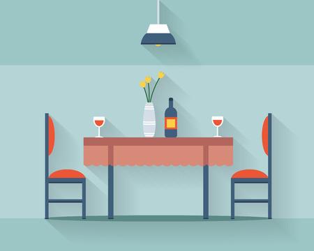 Mesa de comedor para la fecha con vasos de vino, flores y sillas. Ilustración vectorial de estilo Flat.
