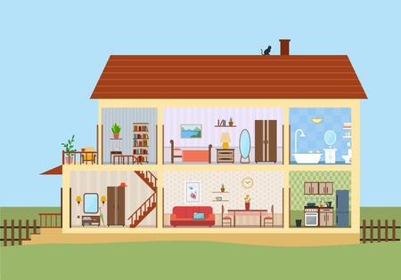 Casa en corte. Interior de la casa moderna detallada. Habitaciones con muebles. Ilustración de vector de estilo plano