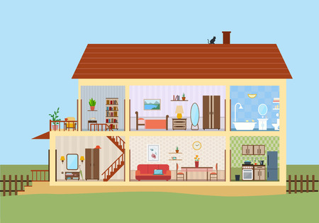 home interior: House in cut. Detailed modern house interior. Rooms with furniture.  Flat style vector illustration.