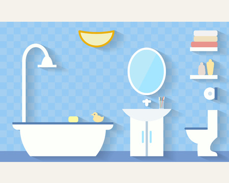 bathroom interior: Bathroom with furniture and long shadows. Flat style vector illustration.