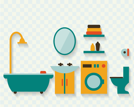 shower room: Bathroom with furniture and long shadows. Flat style vector illustration.