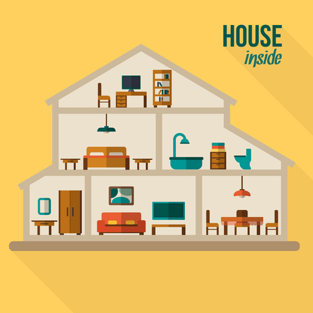 front of house: House in cut. Detailed modern house interior. Rooms with furniture.  Flat style vector illustration.