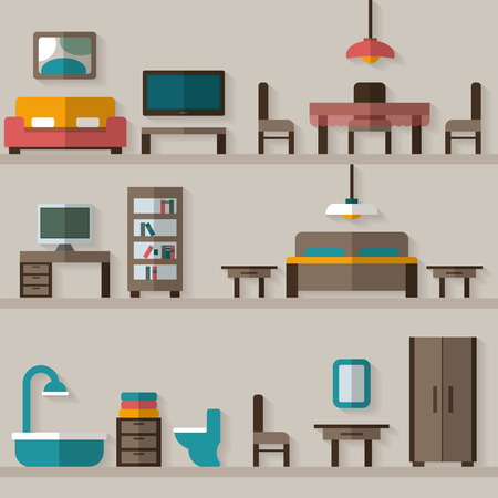 Furniture icon set for rooms of house. Flat style vector illustration. Çizim