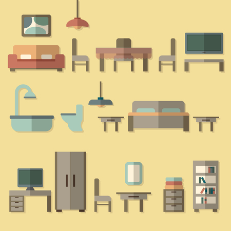 house icon: Furniture icon set for rooms of house. Flat style vector illustration. Illustration