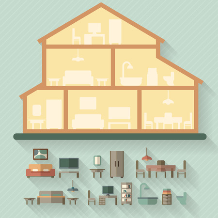 modern house exterior: House in cut. Detailed modern house interior. Rooms with furniture.  Flat style vector illustration.