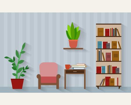 pflanzen: Buchregal und Stuhl mit Lampe. Wohnung Stil Vektor-Illustration.