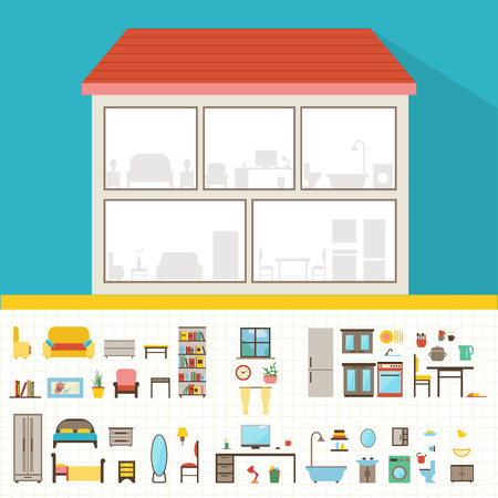 yellow house: House in cut. Detailed modern house interior. Rooms with furniture.  Flat style vector illustration.