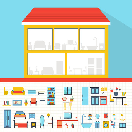 model home: House in cut. Detailed modern house interior. Rooms with furniture.  Flat style vector illustration.