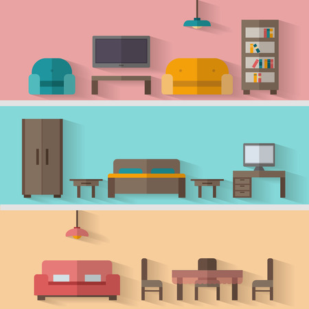 Furniture icon set for rooms of house. Flat style vector illustration. Vettoriali