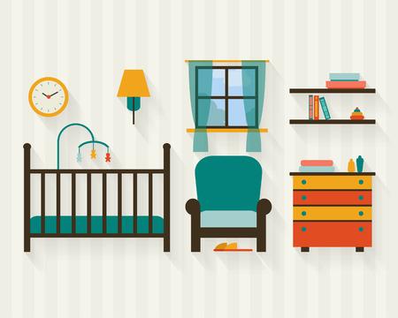 guardera: Habitaci�n del beb� con muebles. Vivero interior. Ilustraci�n vectorial de estilo Flat.
