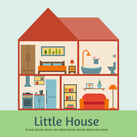 inside of: House in cut. Detailed modern house interior. Rooms with furniture.  Flat style vector illustration.
