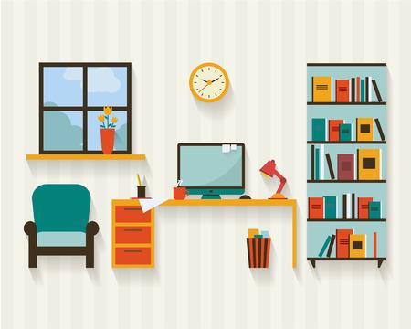Gabinete con muebles y largas sombras. Ilustración vectorial de estilo Flat. Foto de archivo - 41457723