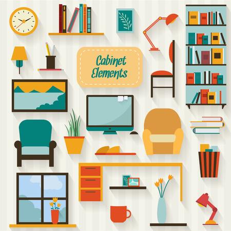Kabinet met meubilair icon set. Vlakke stijl vector illustratie.