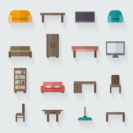 lounge room: Furniture icon set for rooms of house. Flat style vector illustration. Illustration