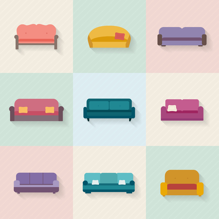 seater: Sofa icons set. Furniture for living room. Flat style vector illustration.