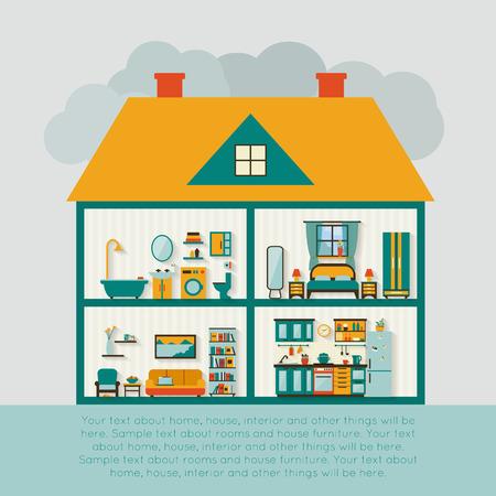 fachada de casa: Casa en corte. Interior de la casa moderna detallada. Habitaciones con muebles. Ilustraci�n vectorial de estilo Flat.