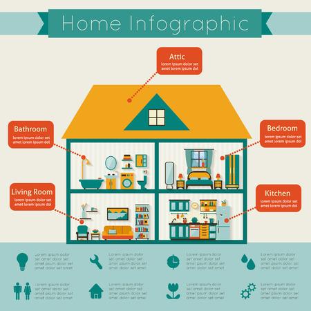 カットの家。詳細なモダンな家のインテリア。家具付きの客室です。 フラット スタイルのベクトル図です。  イラスト・ベクター素材