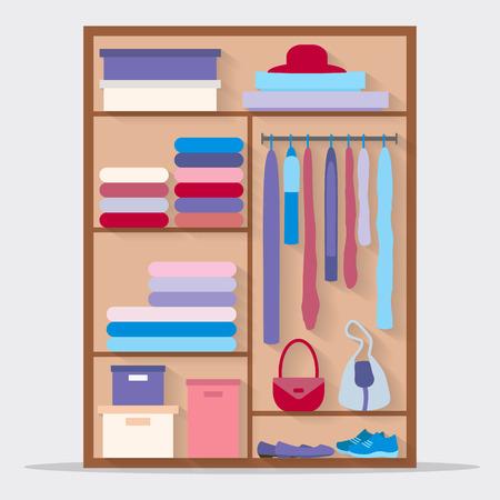 布のためのワードローブ。クローゼットの中の服やバッグなど。フラット スタイルのベクトル図です。  イラスト・ベクター素材