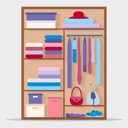 clothing rack: Wardrobe for cloths. Closet with clothes and bags and others. Flat style vector illustration.